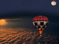 Montgolfière dans la nuit